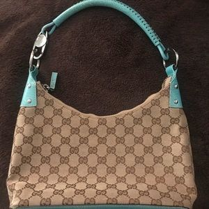 Gucci - Authentic monogrammed mini hobo teal/beige